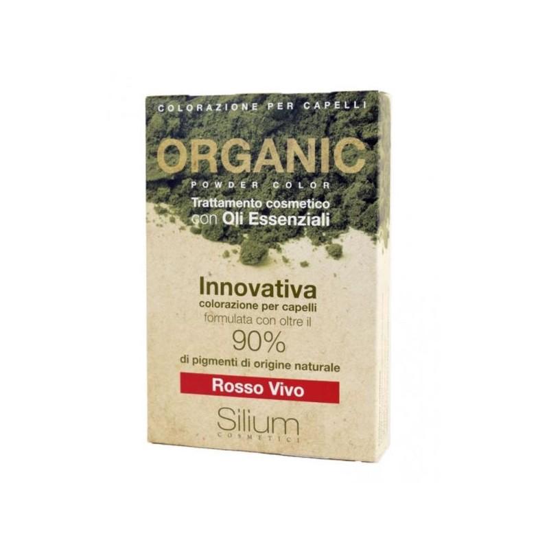Silium Rosso Vivo Organic Powder Color Con Bustina Olii Essenziali 40 G + 20 Ml